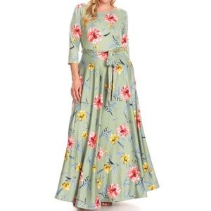 Plus Sage Green Floral Fit Flare Belted Maxi Dress